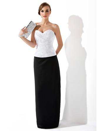 Sheath/Column Sweetheart Floor-Length Satin Evening Dress With Ruffle Beading