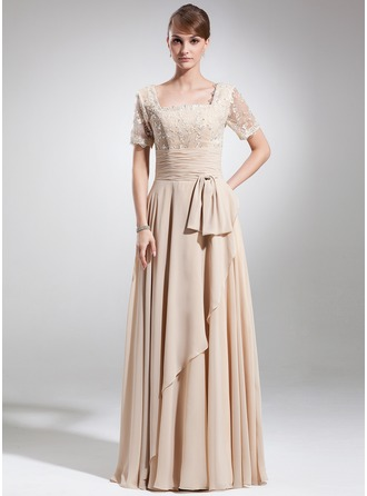 A-Line/Princess Square Neckline Floor-Length Chiffon Mother of the Bride Dress With Ruffle Beading Bow(s)