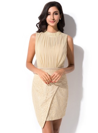 Sheath/Column Scoop Neck Short/Mini Chiffon Lace Cocktail Dress With Ruffle