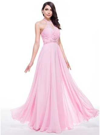 A-Line/Princess High Neck Floor-Length Chiffon Prom Dress With Ruffle Lace Beading Sequins