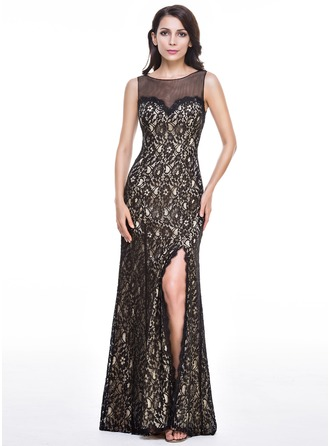 Trumpet/Mermaid Scoop Neck Floor-Length Lace Evening Dress With Split Front