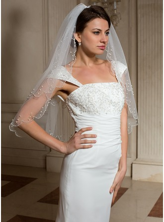 Two-tier Elbow Bridal Veils With Pearl Trim Edge