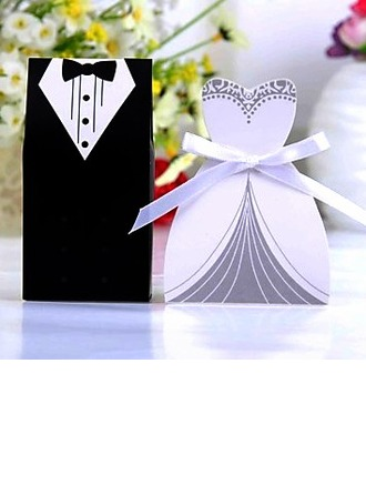 Tuxedo & Gown Favor Boxes With Ribbons (Set of 6 Pairs)