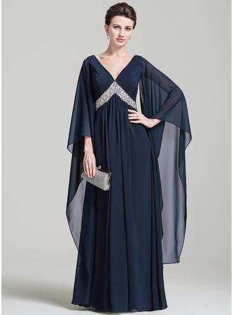 Empire V-neck Floor-Length Chiffon Evening Dress With Ruffle Sequins