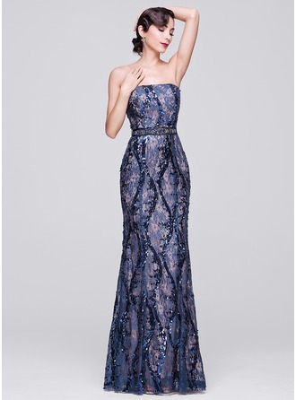 Trumpet/Mermaid Strapless Floor-Length Lace Evening Dress With Beading Sequins