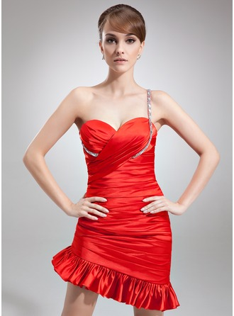 Sheath/Column One-Shoulder Asymmetrical Charmeuse Cocktail Dress With Ruffle Beading
