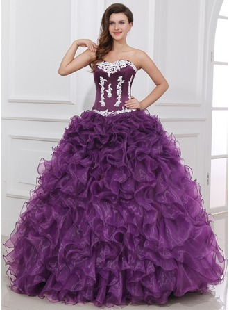 Ball-Gown Sweetheart Floor-Length Organza Satin Quinceanera Dress With Appliques Lace Cascading Ruffles
