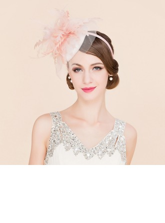 Dames Exquis Batiste avec Feather/Tulle Chapeaux de type fascinator