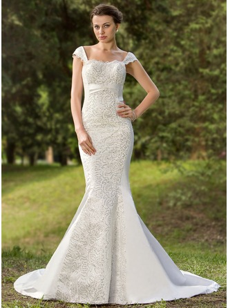 Trumpet/Mermaid Sweetheart Court Train Satin Wedding Dress With Lace Sequins