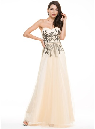 A-Line/Princess Sweetheart Floor-Length Satin Tulle Prom Dress With Lace Beading