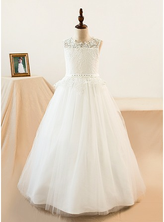 A-Line/Princess Floor-length Flower Girl Dress - Lace Sleeveless Scoop Neck With Sash/Beading/Appliques/Rhinestone (Petticoat NOT included)