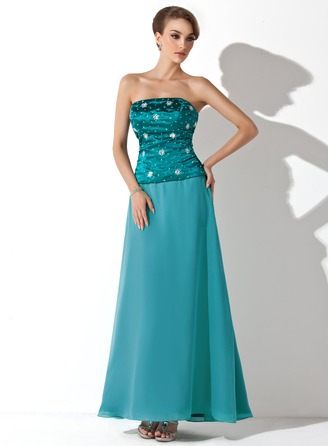 A-Line/Princess Strapless Ankle-Length Chiffon Charmeuse Mother of the Bride Dress With Beading