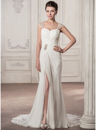 Trumpet/Mermaid Sweetheart Court Train Chiffon Wedding Dress With Ruffle Lace Beading Sequins Split Front