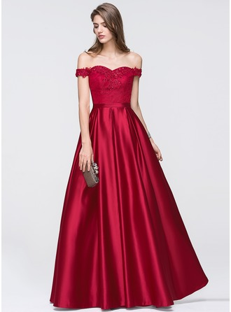 A-Line/Princess Off-the-Shoulder Floor-Length Satin Prom Dress With Beading Sequins