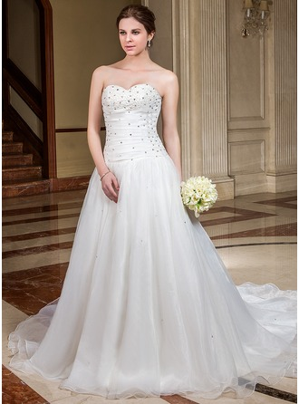 A-Line/Princess Sweetheart Chapel Train Organza Wedding Dress With Ruffle Beading Sequins