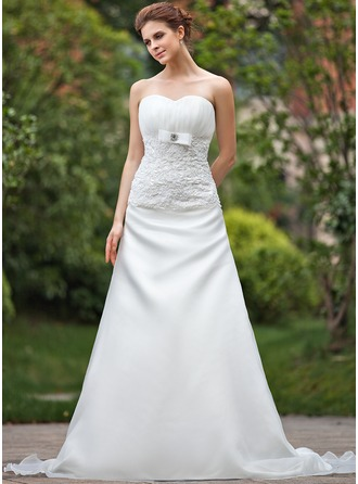 A-Line/Princess Sweetheart Cathedral Train Organza Wedding Dress With Ruffle Lace Beading Bow(s)