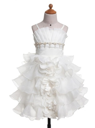 A-Line/Princess Scalloped Neck Knee-Length Satin Flower Girl Dress With Ruffle