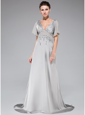 A-Line/Princess V-neck Sweep Train Chiffon Satin Chiffon Evening Dress With Beading Sequins Cascading Ruffles