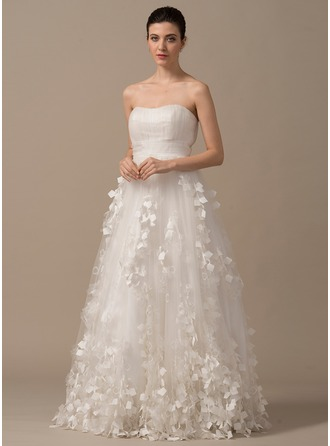 Ball-Gown Sweetheart Floor-Length Tulle Charmeuse Wedding Dress With Ruffle Lace