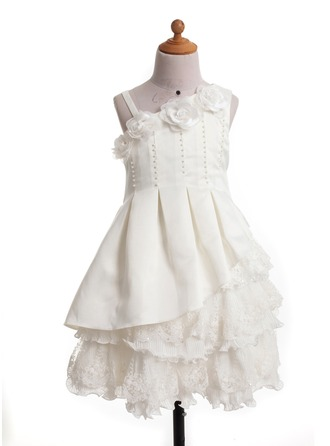 A-Line/Princess One-Shoulder Knee-Length Satin Flower Girl Dress With Beading Flower(s)