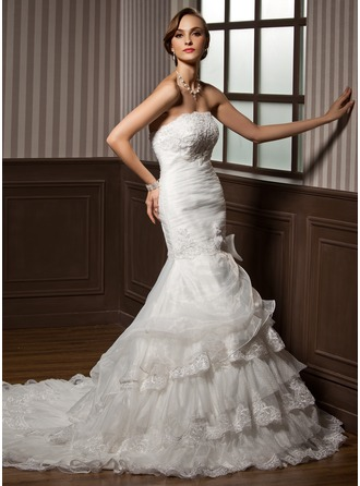 Trumpet/Mermaid Strapless Cathedral Train Organza Wedding Dress With Ruffle Lace Bow(s)