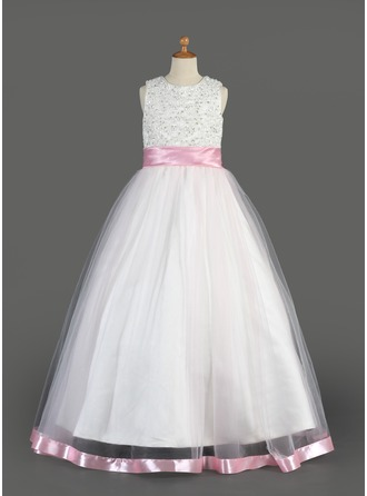 A-Line/Princess Organza/Charmeuse First Communion Dresses With Sash/Beading/Sequins