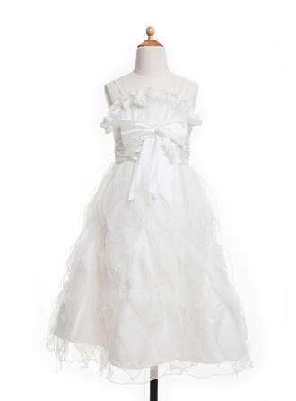 A-Line/Princess Floor-Length Satin Flower Girl Dress With Ruffle Bow(s)