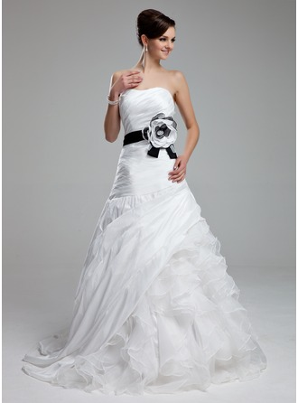 A-Line/Princess Sweetheart Court Train Organza Wedding Dress With Sash Flower(s) Cascading Ruffles