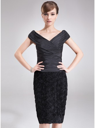 Sheath/Column Off-the-Shoulder Knee-Length Taffeta Lace Mother of the Bride Dress With Ruffle Flower(s)