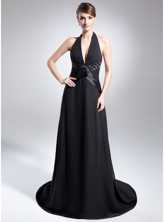 A-Line/Princess Halter Court Train Chiffon Charmeuse Holiday Dress