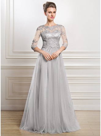 A-Line/Princess Scoop Neck Floor-Length Tulle Mother of the Bride Dress With Lace Beading Sequins