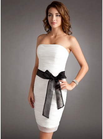 Sheath/Column Strapless Short/Mini Organza Mother of the Bride Dress With Ruffle Sash Bow(s)