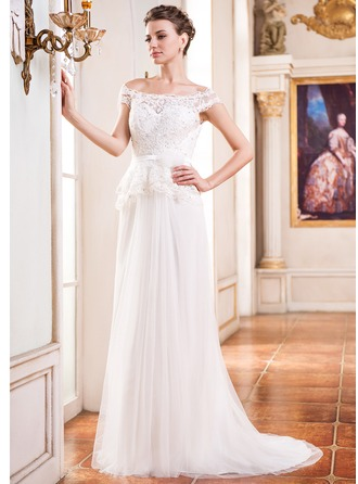 A-Line/Princess Off-the-Shoulder Court Train Tulle Charmeuse Lace Wedding Dress With Beading Flower(s) Sequins