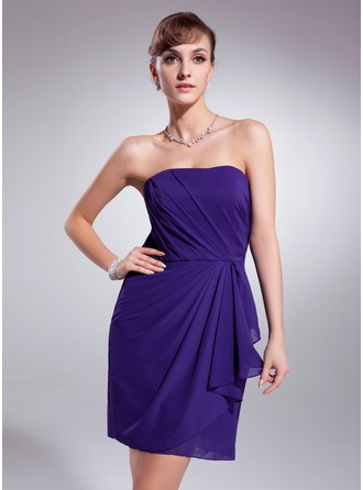Sheath/Column Strapless Short/Mini Chiffon Homecoming Dress With Cascading Ruffles