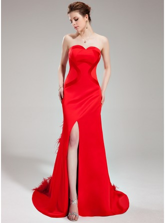 Trumpet/Mermaid Sweetheart Court Train Satin Evening Dress With Feather Split Front