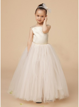 A-Line/Princess Square Neckline Floor-Length Charmeuse Tulle Flower Girl Dress With Ruffle Lace