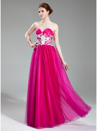 A-Line/Princess Sweetheart Floor-Length Tulle Prom Dress With Beading Appliques Lace Flower(s)