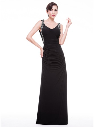 Sheath/Column V-neck Sweep Train Jersey Evening Dress With Ruffle Beading Appliques Lace Sequins