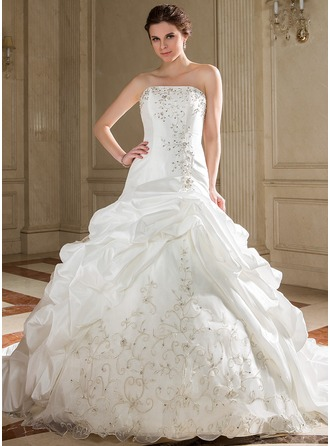 A-Line/Princess Strapless Chapel Train Taffeta Organza Wedding Dress With Embroidery Ruffle Beading Sequins