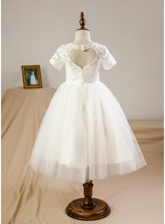 A-Line/Princess Knee-length Flower Girl Dress - Tulle/Lace Short Sleeves Scoop Neck