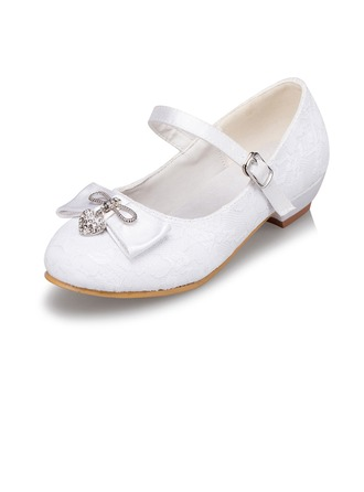 Kids' Lace Low Heel Closed Toe Pumps With Bowknot