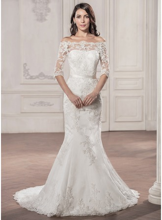 Trumpet/Mermaid Off-the-Shoulder Court Train Satin Lace Wedding Dress