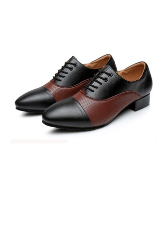 Men's Real Leather Flats Modern Ballroom Tango With Lace-up Dance Shoes