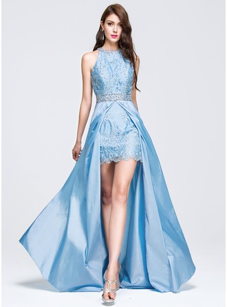 A-Line/Princess Scoop Neck Sweep Train Taffeta Prom Dress With Beading Sequins
