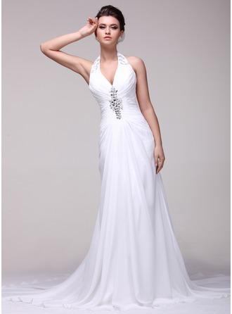 A-Line/Princess Halter Chapel Train Chiffon Wedding Dress With Ruffle Beading