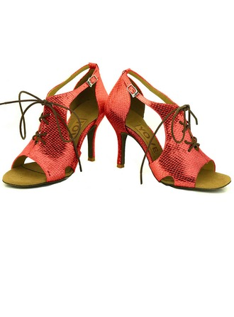 Women's Leatherette Heels Sandals Latin Salsa Party With Ankle Strap Dance Shoes