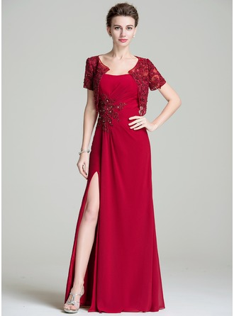 A-Line/Princess Sweetheart Floor-Length Chiffon Mother of the Bride Dress With Ruffle Beading Appliques Lace Sequins Split Front