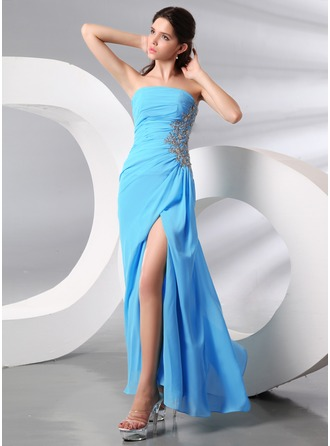 Sheath/Column Strapless Floor-Length Chiffon Evening Dress With Beading Appliques Lace Sequins Split Front