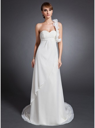 Empire One-Shoulder Court Train Chiffon Wedding Dress With Ruffle Beading Flower(s)