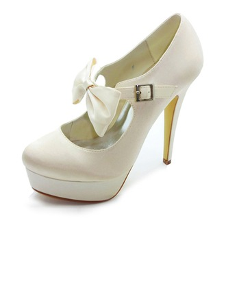 Women's Satin Stiletto Heel Closed Toe Platform Pumps With Bowknot Buckle